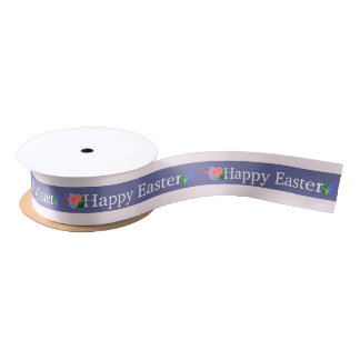 Happy Easter Purple Banner Satin Ribbon