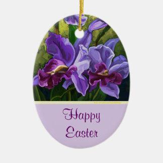 Happy Easter purple flowers decoration Christmas Tree Ornaments