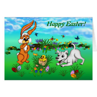 Happy Easter! Rabbit, Chick and Puppy Card