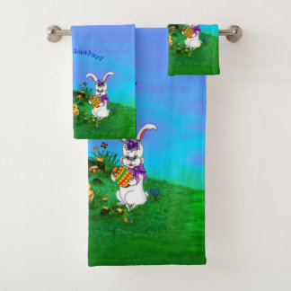 Happy Easter! Rabbit with Bunny and Chick Bath Towel Set