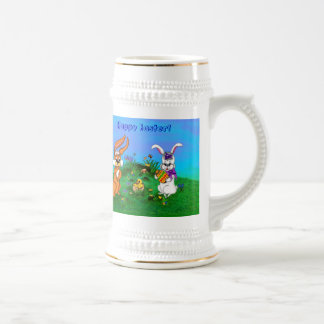 Happy Easter! Rabbit with Bunny and Chick Beer Stein