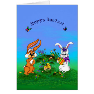 Happy Easter! Rabbit with Bunny and Chick Card