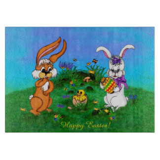 Happy Easter! Rabbit with Bunny and Chick Cutting Board