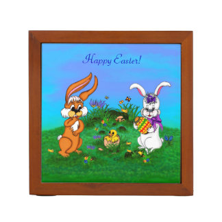Happy Easter! Rabbit with Bunny and Chick Desk Organizer