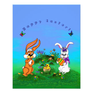 Happy Easter! Rabbit with Bunny and Chick Flyer