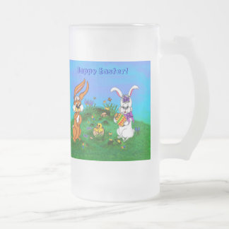 Happy Easter! Rabbit with Bunny and Chick Frosted Glass Beer Mug
