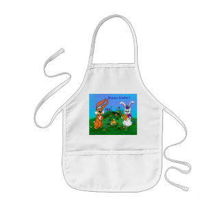 Happy Easter! Rabbit with Bunny and Chick Kids Apron