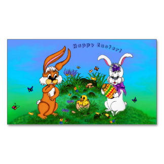 Happy Easter! Rabbit with Bunny and Chick Magnetic Business Card