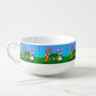 Happy Easter! Rabbit with Bunny and Chick Soup Mug