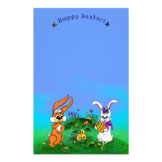 Happy Easter! Rabbit with Bunny and Chick Stationery Paper