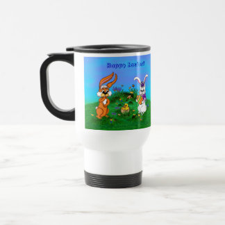 Happy Easter! Rabbit with Bunny and Chick Travel Mug
