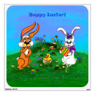 Happy Easter! Rabbit with Bunny and Chick Wall Decal