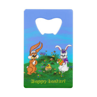 Happy Easter! Rabbit with Bunny and Chick Wallet Bottle Opener