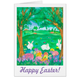 Happy Easter Rabbits Eggs Crocus Flowers Card
