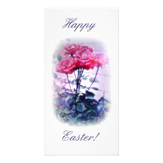 Happy Easter Red Roses Photo Card