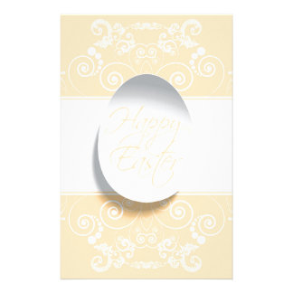 Happy Easter Ribbon (Yellow) Personalized Stationery