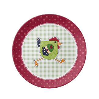 Happy Easter. Rooster Country Design Gift Plates