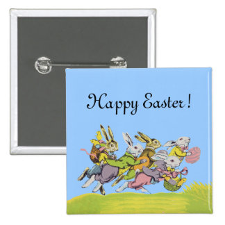Happy Easter Running Pastel Rabbits 2 Inch Square Button