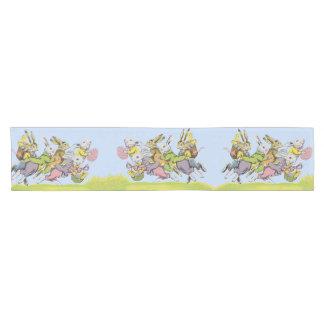 Happy Easter Running Pastel Rabbits Short Table Runner