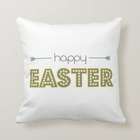 happy easter simple modern design mint yellow throw pillow