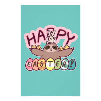 Happy Easter Sloth Personalized Stationery