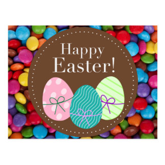 Happy Easter smarties chocolate candy rainbow Postcard