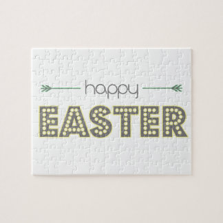 happy easter spring yellow mint green simple jigsaw puzzle