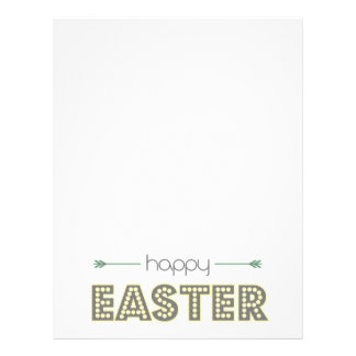 happy easter spring yellow mint green simple letterhead
