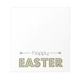 happy easter spring yellow mint green simple notepad