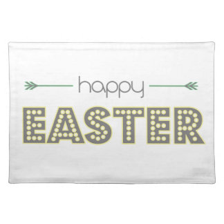 happy easter spring yellow mint green simple placemat