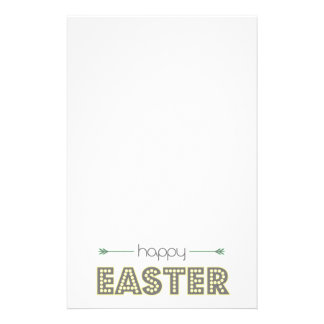 happy easter spring yellow mint green simple stationery