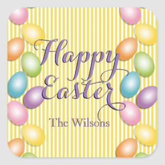 Happy Easter Striped Family or Business Square Sticker