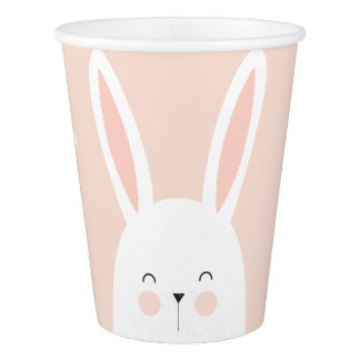Happy Easter. Super Kawaii Cute Easter Bunny. Paper Cup