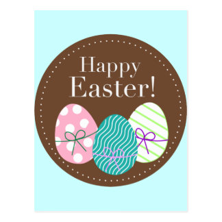 Happy Easter Triple Eggs Postcard