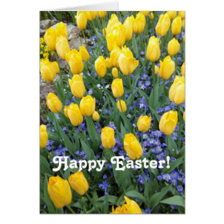 Happy Easter tulips greeting card. Card