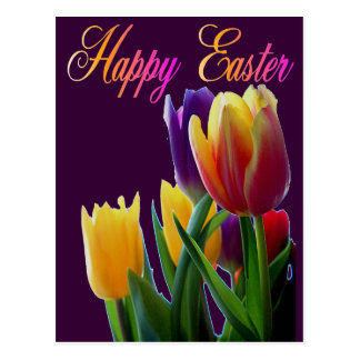 Happy Easter Tulips Greeting Cards Post Card