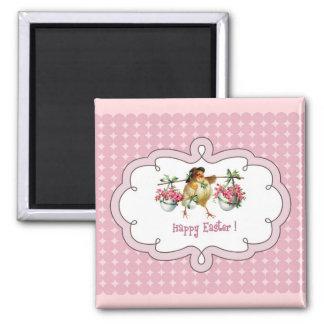 Happy Easter. Vintage Chick Easter Gift Magnets