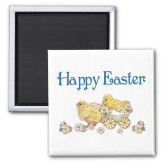 Happy Easter Vintage Chicks and Daisies Art Magnet