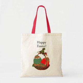 Happy Easter Vintage Egg Basket Painting Tote Bags