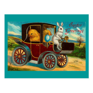Happy Easter Vintage Motor Car Ride Postcard
