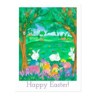 Happy Easter Watercolor Flowers Postcard