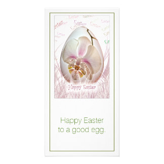 Happy Easter - White and Pink Orchid on Easter Egg Photo Cards
