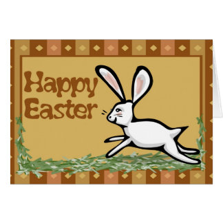 Happy Easter White Rabbit Earthy Card