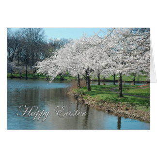 Happy Easter White Tree Blossoms over Lake Card