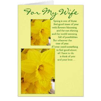 Happy Easter Wife Card - Daffodils