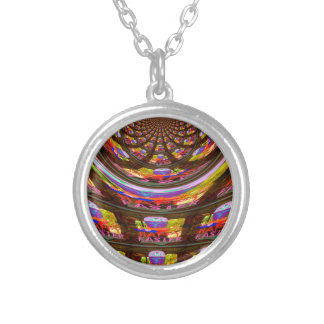 Happy Easter wishes Greetings Seamless graphics ar Silver Plated Necklace