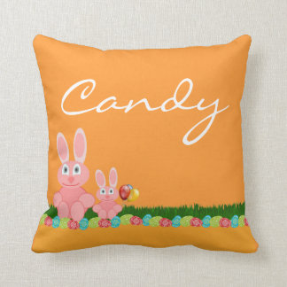 Happy Easter with bunny add name Pillows