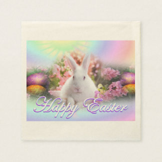 Happy Easter with Bunny Paper Napkins
