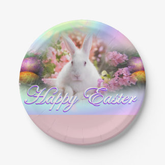 Happy Easter with Bunny Paper Plate