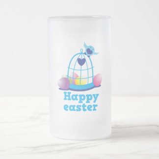 Happy easter with cute little bird and cage eggs frosted glass beer mug